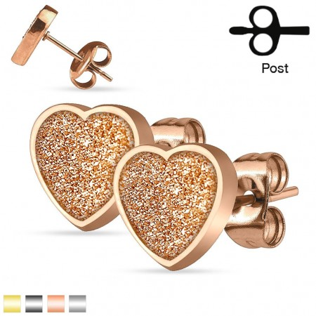 Ear studs with glitter heart