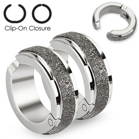 Clip on earrings with line of brushed steel