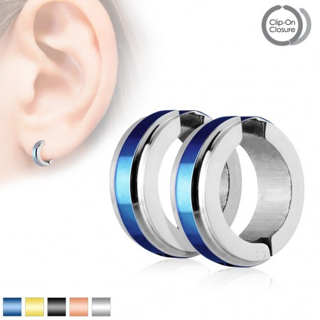 Neon colour striped clip on ear piercings