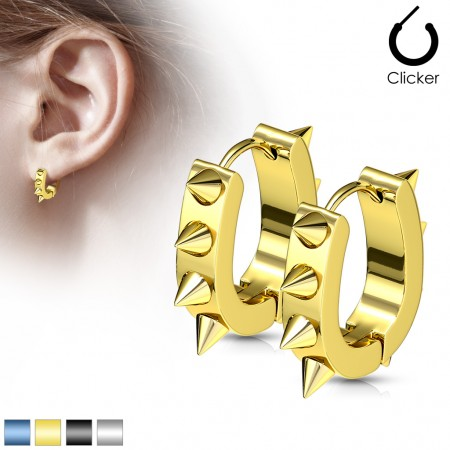 Pair of ear hoops with long spikes in neon colours