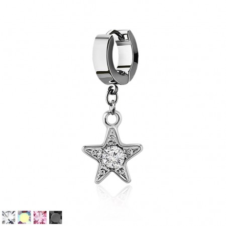Helix huggie with a dangling round crystal studded star