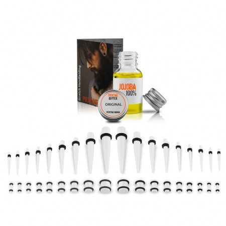 Ear stretching kit up to 10 mm - White