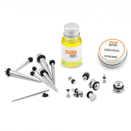 The ultimate ear stretching kit with plugs