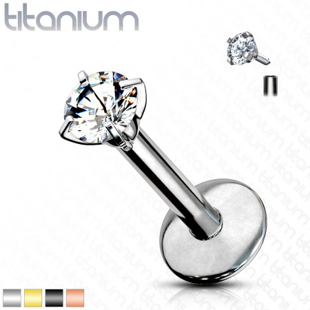 Internally threaded solid titanium labret with round crystal