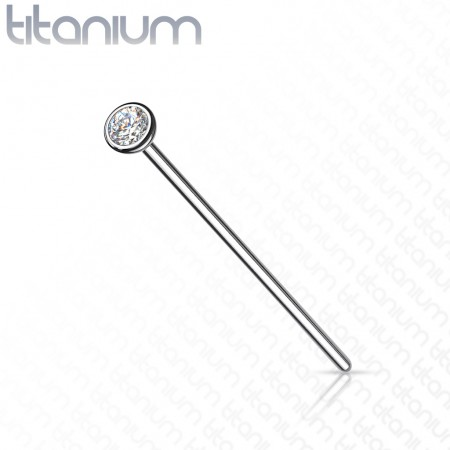 Solid titanium nose fishtail with clear bezel crystal