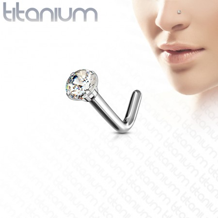 Solid titanium nose stud with prong set crystal