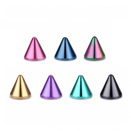 Brightly coloured screw-in spikes for piercings