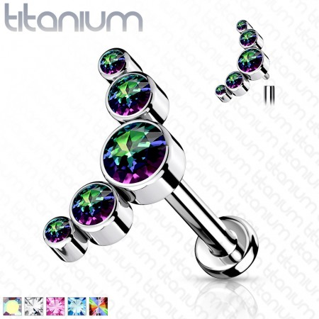 Internally threaded Titanium Labret with five coloured crystals