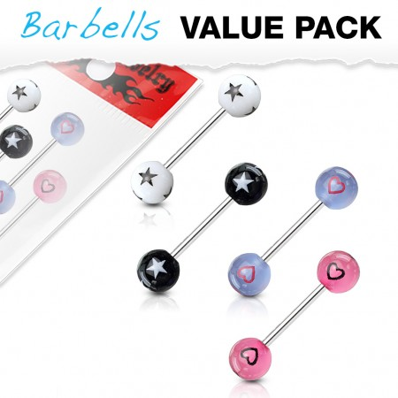 Set of 4 barbells with stars and hearts