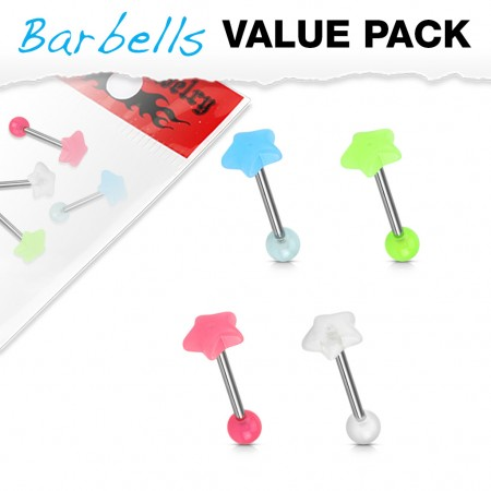 Set of 4 Glow in the Dark barbells