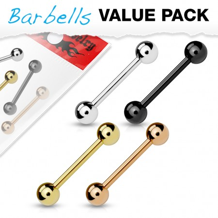 Set of 4 barbells with various platings