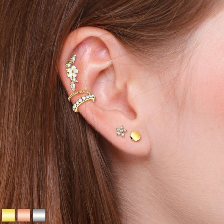 Ear cartilage piercing set with two rings and three studs