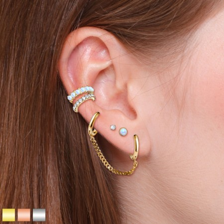 Coloured ear cartilage set with rings and small studs