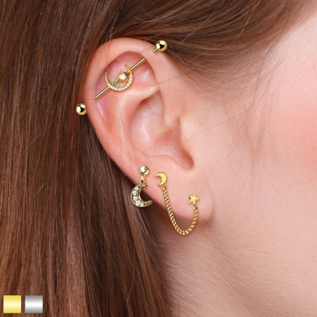 Coloured crescent and star ear cartilage set