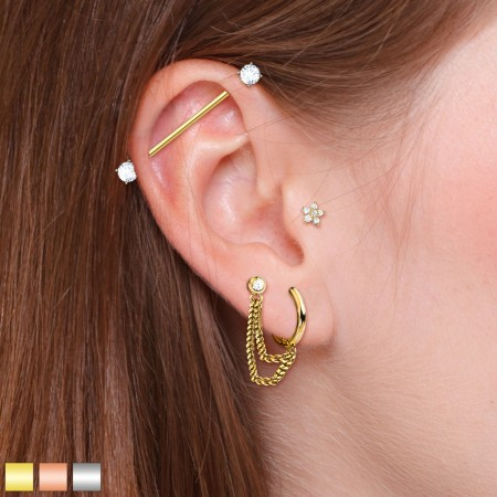 Set of ear cartilage piercings with industrial barbell