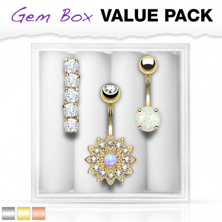 Set coloured belly bars with crystals in storage box