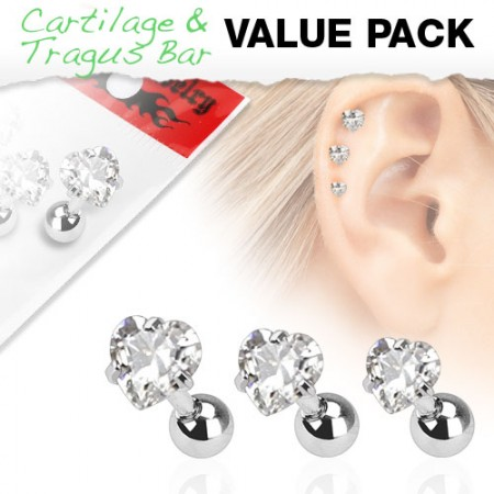 Set of three ear piercings with clear hearts