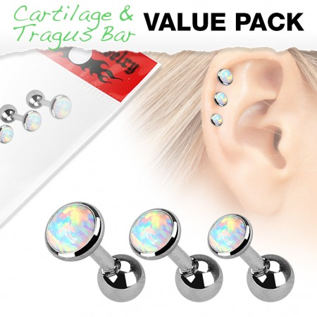 Set of 3 white cartilage piercings with opals from different sizes