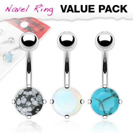 Bonuspack navelrings with three different stones