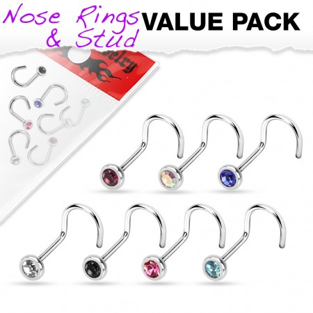 Set of 7 screw nose piercings with coloured crystal