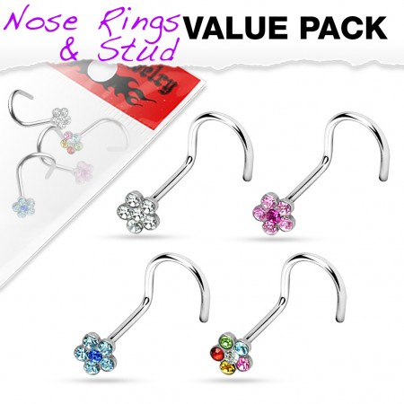 Set of 4 screw nose piercings with crystal flower
