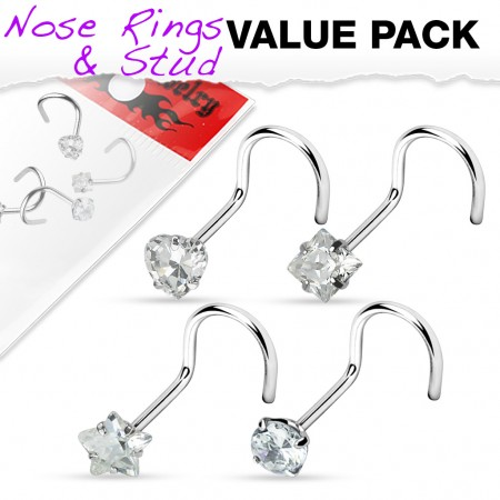 Set of 4 screw nose piercings with clear crystal figure
