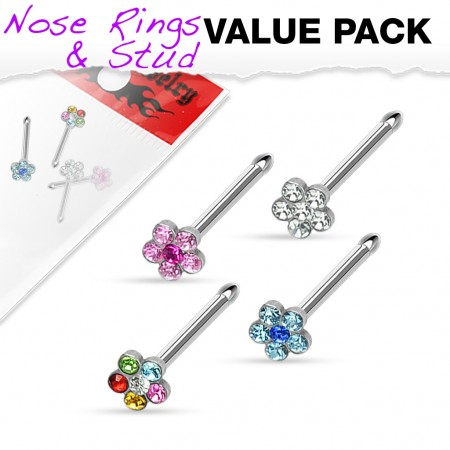Set of four nose piercings with crystal flower