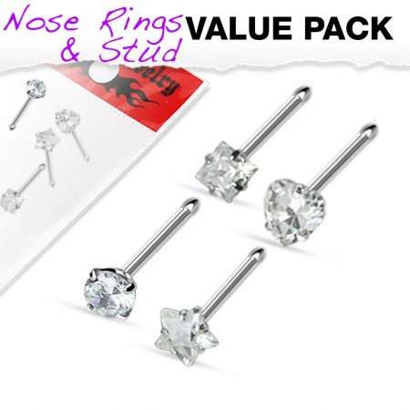 Set of 4 nose piercing with clear crystal figures