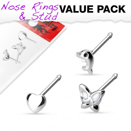 Set of 3 silver nose piercings with figure