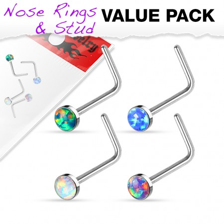 Set of four nose studs with opal balls