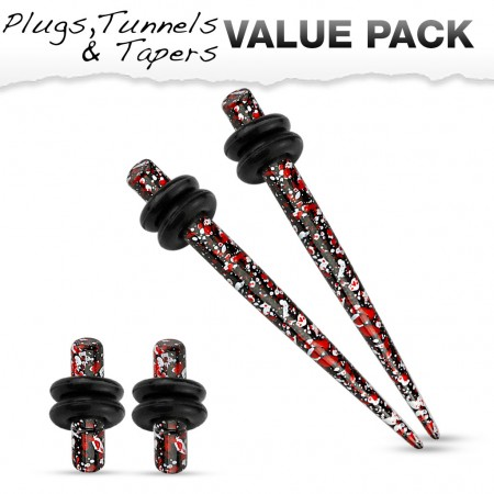 Stretch set inc. plugs with red black splatter pattern
