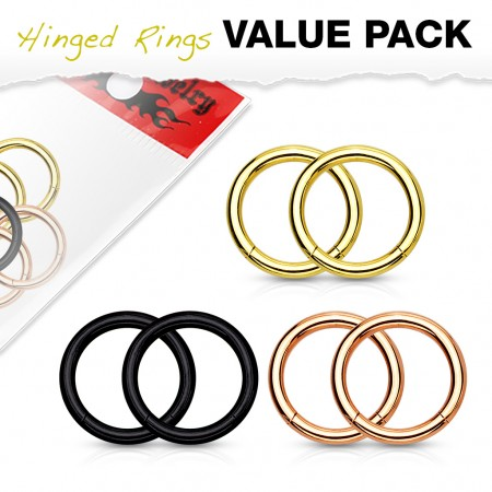3 pairs value pack of multiple coloured hinged segment rings