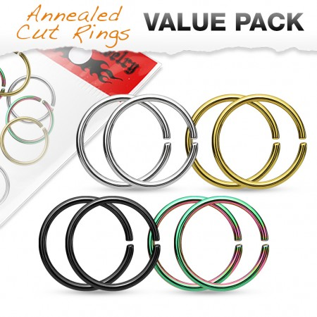 Set of 8 piercing rings with various platings