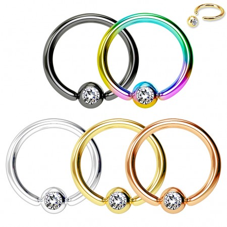 Five coloured ball closure rings with jewel set balls pack