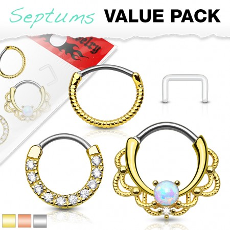 Set with 3 coloured piercing rings and retainer