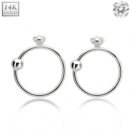 White gold nose ring with clear crystal and ball