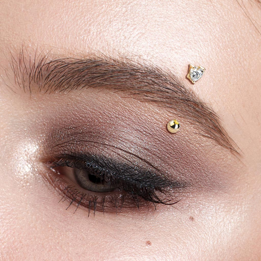 Solid Gold Eyebrow Piercing With Clear Heart Gem