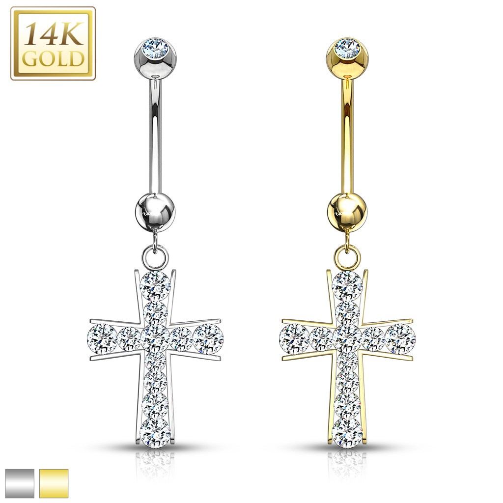 Solid Gold Belly Button Piercing With Crystal Cross On Pendant