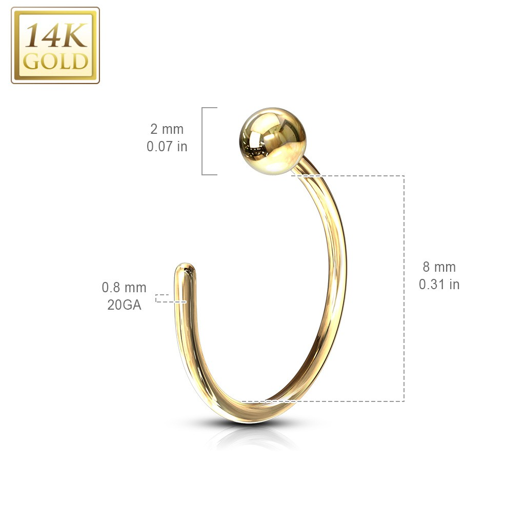 14kt Gold Nose Ring With Ball