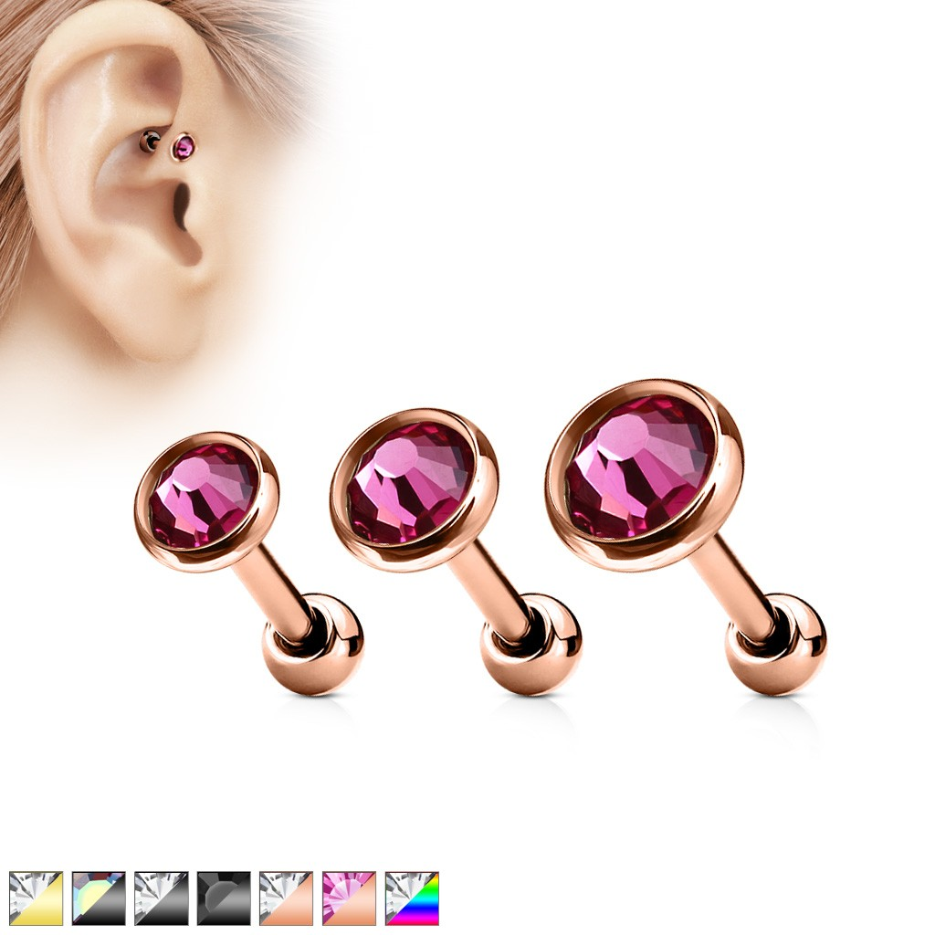 beefc92fc Tragus piercing with titanium plating and crystal