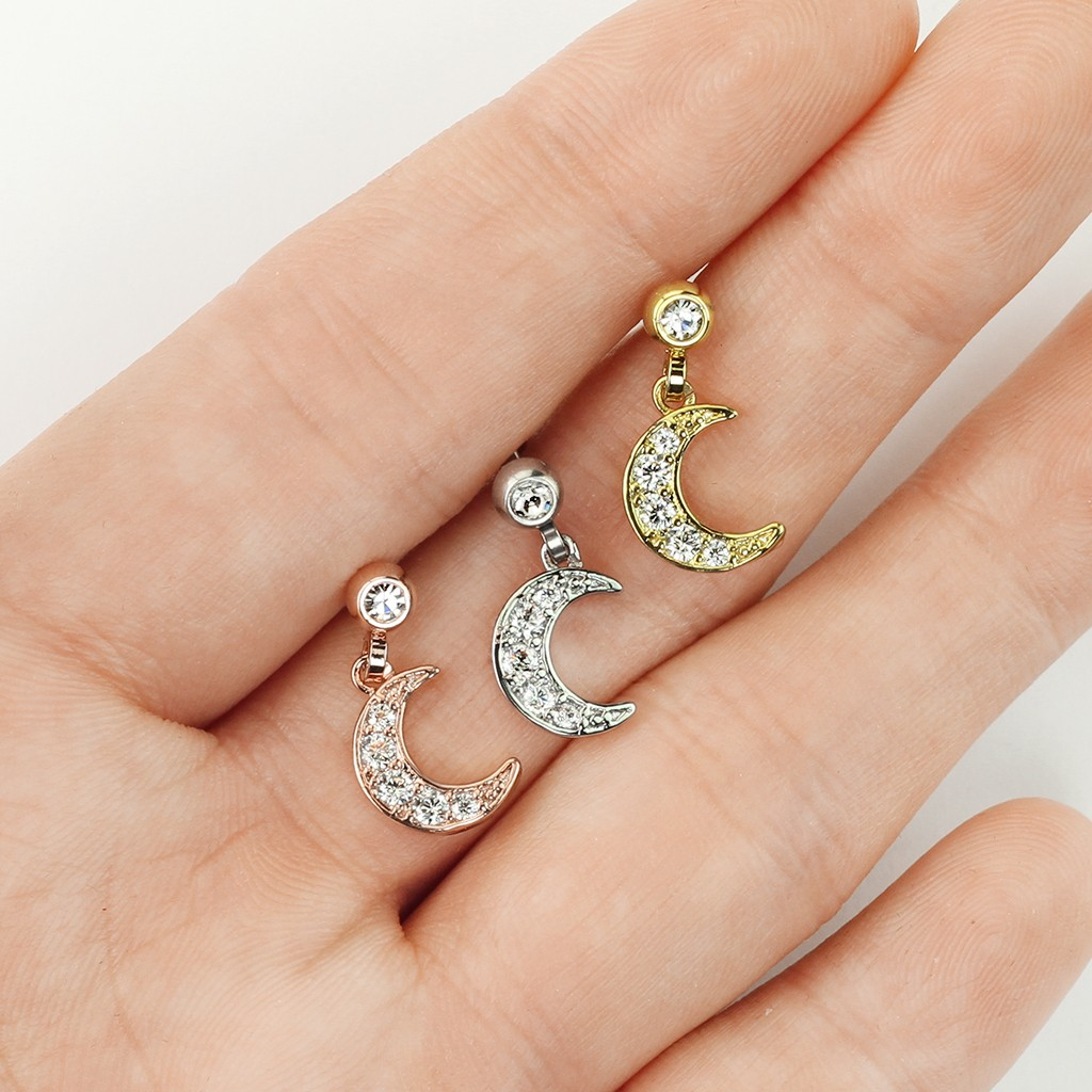 26dad3484 Coloured ear piercing with crescent moon dangle
