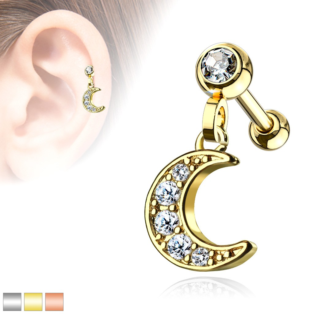 8783af44a Coloured ear piercing with crescent moon dangle. Tap to expand