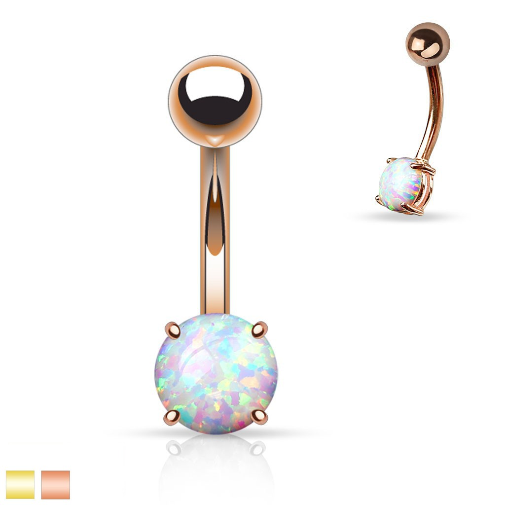 Golden Belly Button Piercing With Rounded Opal Gemstone