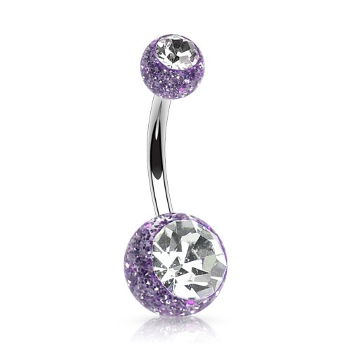 Belly Bar With Glimmering Beads And Jewels