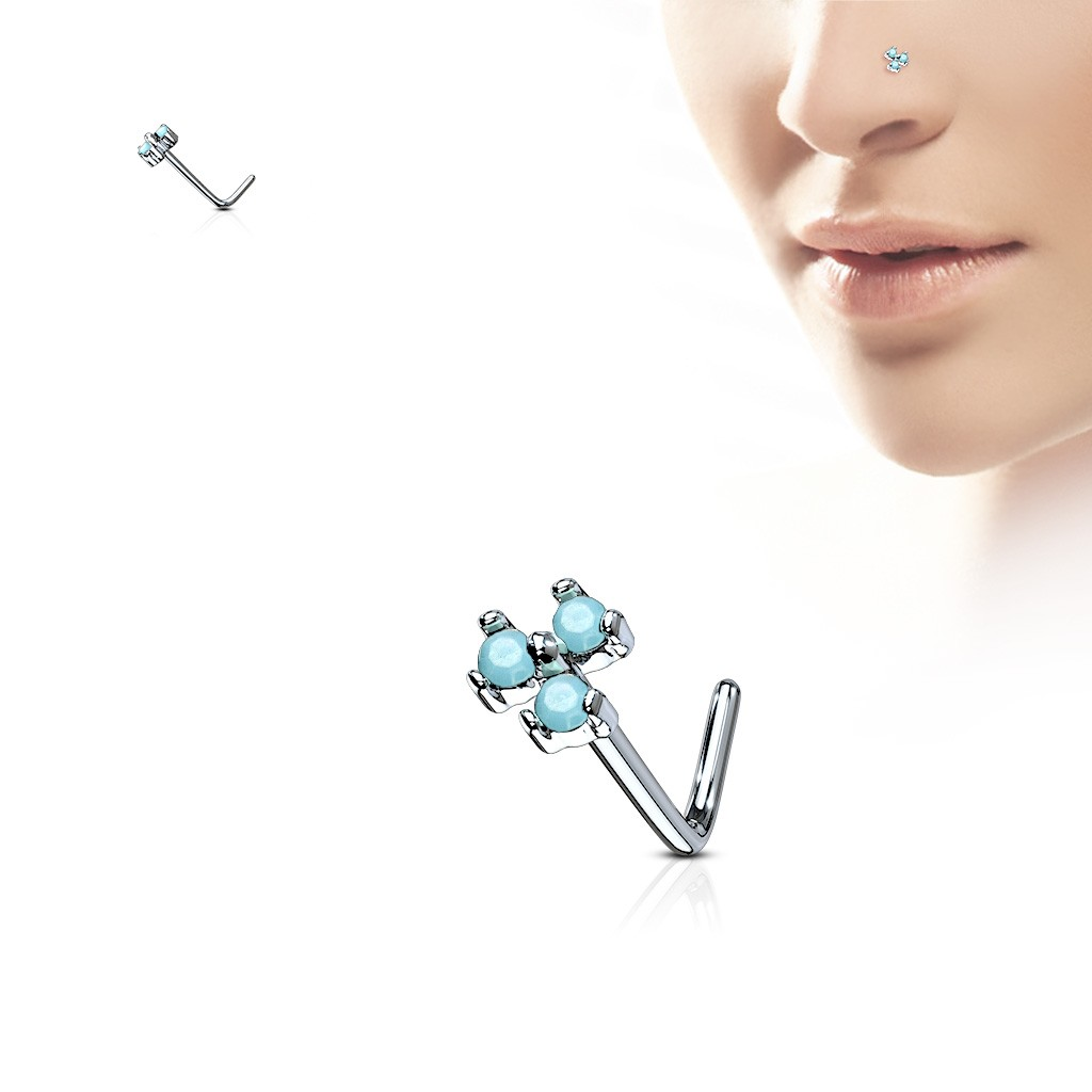 Nose Stud With 3 Coloured Opal Stones