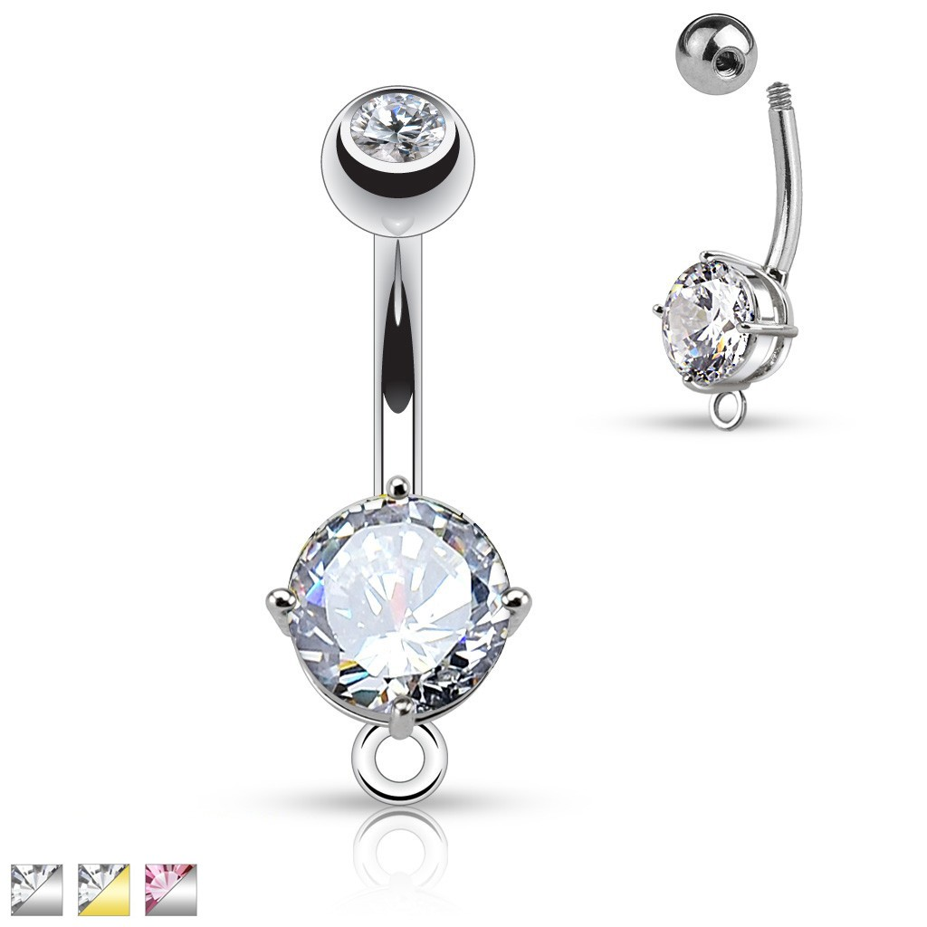Belly Bar With Large Gem And Dangling O Ring