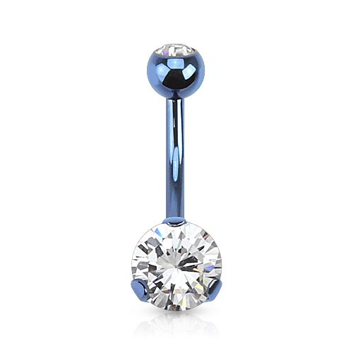 Coloured Belly Button Piercing With Fixed Encased Jewel