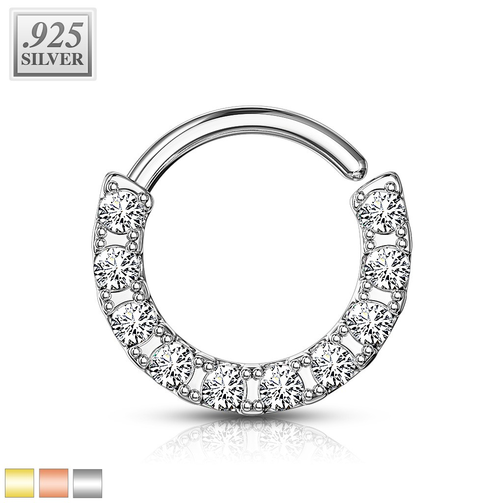Coloured925 Piercing Crystals Sterling Ring With Ten Side Silver OkPZiwXTu