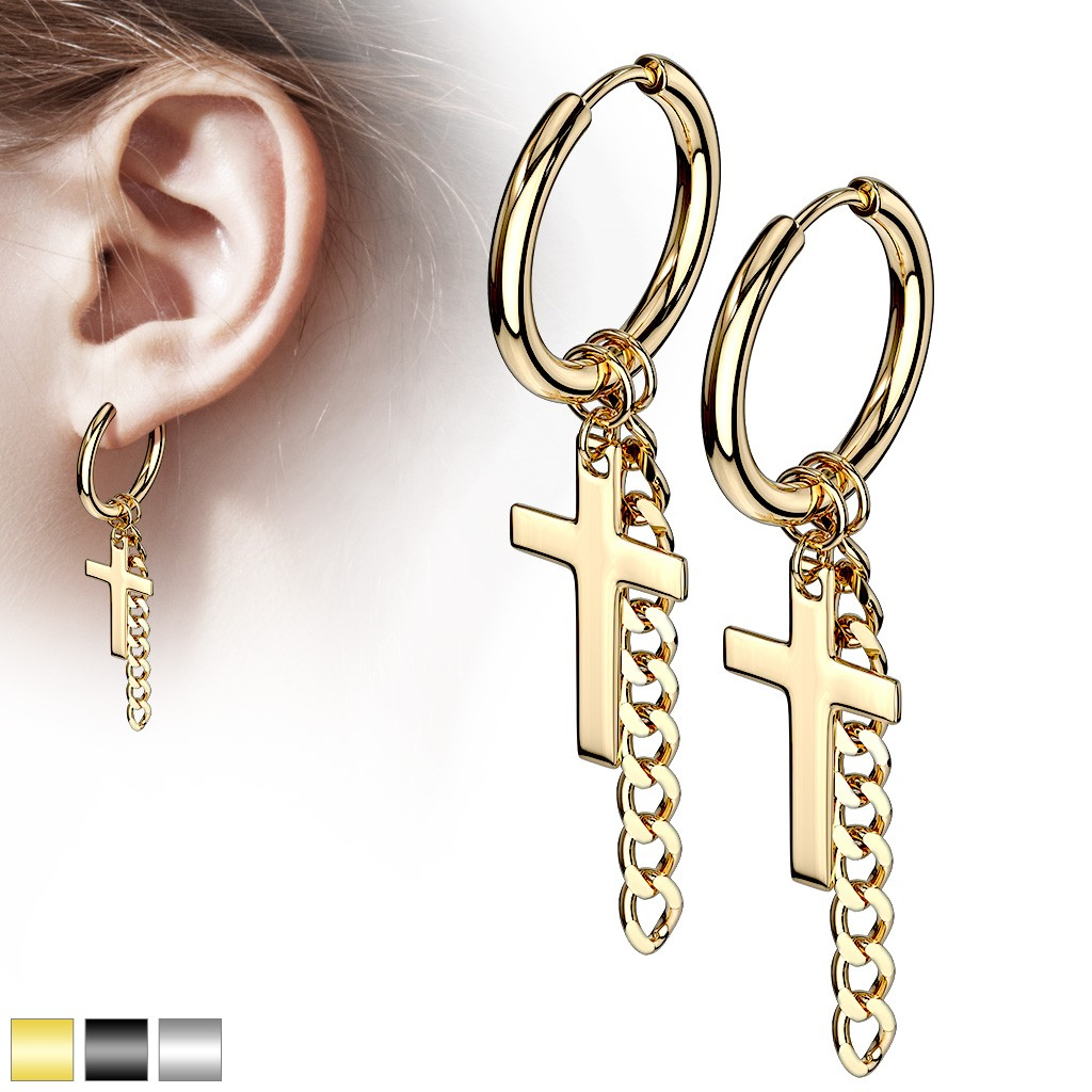 Pair Ear Hoops With Chain And Cross Dangle