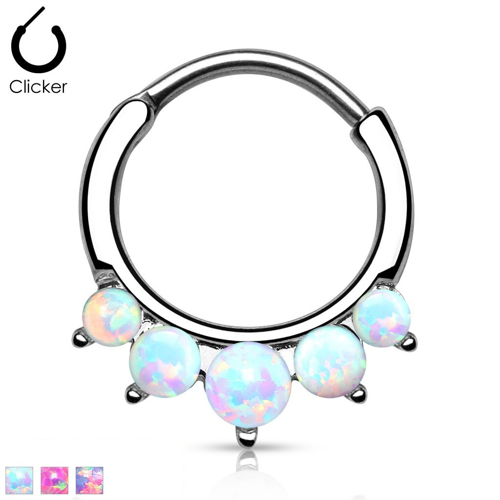 Septum Clicker With Five Opal Stones